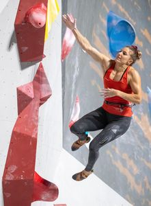 Petra Klingler of Switzerland during the final of Women Boulder competition of the IFSC Climbing World Championships 2018. Innsbruck, Austria, 2018/09/14