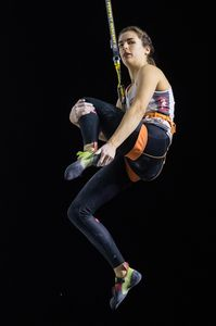 Alexandra Elmer of Austria during the Ladies Speed qualification for the IFSC Climbing World Championships 2018. Innsbruck, Austria, 13 September 2018