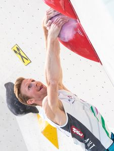 Jakob Schubert of Austria during the Men Boulder qualification for the IFSC Climbing World Championships 2018. Innsbruck, Austria, 12 September 2018