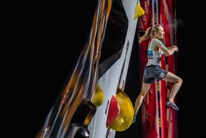 Janja Garnbret of Slovenia during the final of Women Combined competition, Boulder of the IFSC Climbing World Championships 2018. Innsbruck, Austria, 2018/09/15