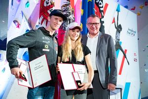 Jakob Schubert (AUT) Jessica Pilz (AUT) Councilor Johannes Tratter (Tyrolean People\'s Party) during the reception Country Tyrol for the IFSC Climbing World Championships 2018. Innsbruck, Austria, 11 September 2018