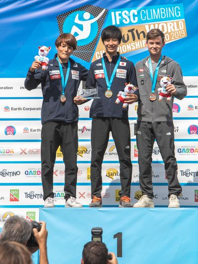 JUGEND-WM 2019 -\nIFSC CLIMBING YOUTH WORLD CHAMPIONSHIPS - Arco (ITA) 21-31 August 2019 / image shows: podium combined juniors male 1 Sohta Amagasa (JPN) 2 Shuta Tanaka (JPN) 3 Nicolai Uznik (AUT)
