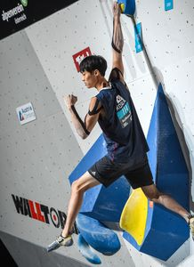 Tomoa Narasaki of Japan during the final of Men Boulder competition of the IFSC Climbing World Championships 2018. Innsbruck, Austria, 2018/09/15