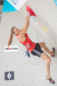 Petra Klingler of Switzerland during the Women Boulder qualification for the IFSC Climbing World Championships 2018. Innsbruck, Austria, 08 September 2018