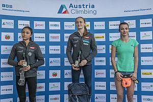 Graz (AUT), EUROPEAN YOUTH CUP BOULDER 2018 - image shows: podium youth a female - Lammer  Laura (AUT) 2nd place, Lettner Sandra (AUT) winner and Rakovec Lucka (SLO) 3rd place