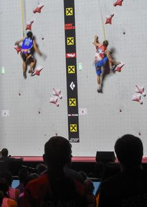 during the Mens Speed Climbing qualification for the IFSC Climbing World Championships 2018. Innsbruck, Austria, 13 September 2018