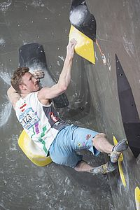 IFSC Boulder Worldcup Meiringen 2018, Semifinals\nSuisse\nApril 14th 2018\nPic Shows: Jakob Schubert in 2nd Men Semi-Final Boulder