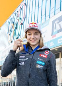 gold medalist and World Champion Jessica Pilz of Austria during a press conference after the Final of Women Lead for the IFSC Climbing World Championships 2018. Innsbruck, Austria, 09 September 2018