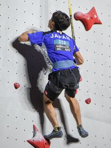 Kai Harada of Japan during the Mens Speed Climbing qualification for the IFSC Climbing World Championships 2018. Innsbruck, Austria, 13 September 2018