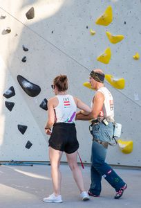 Roland Koechl of Austria during the Para Climbing qualification for the IFSC Climbing World Championships 2018. Innsbruck, Austria, 12 September 2018