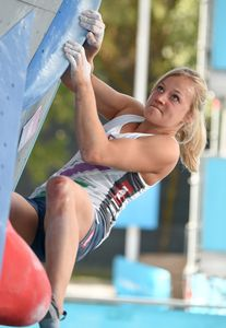 Berit Schwaiger of Austria during the Women Boulder qualification for the IFSC Climbing World Championships 2018. Innsbruck, Austria, 08 September 2018