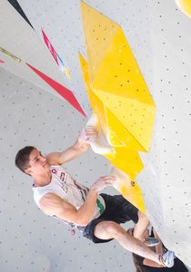 Matthias Erber of Austria during the Men Boulder qualification for the IFSC Climbing World Championships 2018. Innsbruck, Austria, 12 September 2018