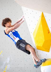 Yoshiyuki Ogata of Japan during the Men Boulder qualification for the IFSC Climbing World Championships 2018. Innsbruck, Austria, 12 September 2018