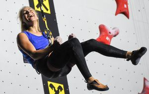 Aleksandra Rudzinska of Poland Gold Medal during the Ladies Speed Climbing Final of the IFSC Climbing World Championships 2018. Innsbruck, Austria, 13 September 2018