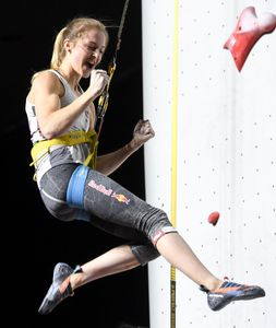 Jessica Pilz of Austria during the final of Women Combined competition, Speed of the IFSC Climbing World Championships 2018. Innsbruck, Austria, 2018/09/15