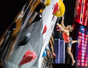 Petra Klingler of Switzerland during the final of Women Combined competition, Boulder of the IFSC Climbing World Championships 2018. Innsbruck, Austria, 2018/09/15