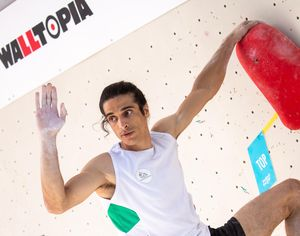 Gholamali Baratzadeh of Iran during the Men Boulder qualification for the IFSC Climbing World Championships 2018. Innsbruck, Austria, 12 September 2018