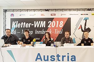 09.04.2018, Innsbruck, AUT, Pressekonferenz, Kletterverband Österreich, Beginn Weltcup-Saison 2018 und Vorschau Kletter-WM Innsbruck/Tirol, im Bild v.l. Michael SchÖpf(GF Kletter-WM 2018), Heiko Wilhelm (KVÖ Sportdirektor), Ellie Howard (KVÖ Nationaltrainer), Roman Krajnik (KVÖ Nationaltrainer), Pawel Draga (KVÖ Nationaltrainer) // during a press conference of Climbing Association Austria (KVÖ) to the upcoming World Cup season 2018 and preview of World Climbing Championships in Tyrol. Innsbruck, Austria on 2017/04/09. EXPA Pictures © 2018, PhotoCredit: EXPA/ Johann Groder
