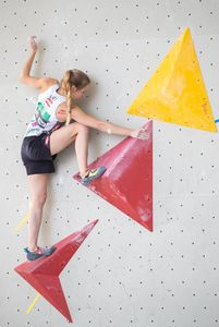 Jessica Pilz of Austria during the Women Boulder qualification for the IFSC Climbing World Championships 2018. Innsbruck, Austria, 08 September 2018