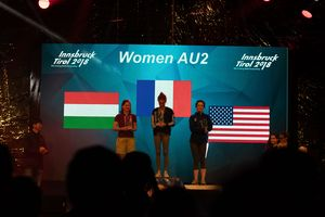 Paraclimbing World Championships Innsbruck 2018: Podium of Category AU2-W 1. Solenne Piret (FRA) 2. Melinda Vigh (HUN) 3. Maureen Beck (USA)