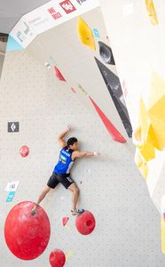 Rei Sugimoto of Japan during the Men Boulder qualification for the IFSC Climbing World Championships 2018. Innsbruck, Austria, 12 September 2018
