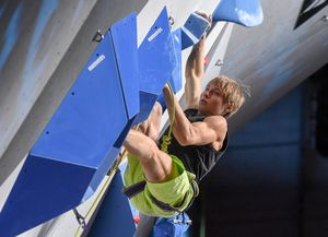 Alexander Megos of Germany during Final of Men Lead for the IFSC Climbing World Championships 2018. Innsbruck, Austria, 09 September 2018