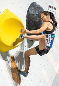 silver medalist Akiyo Noguchi of Japan during the final of Women Boulder competition of the IFSC Climbing World Championships 2018. Innsbruck, Austria, 2018/09/14