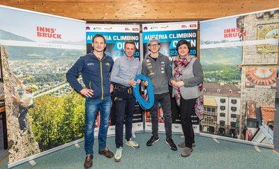 31.01.2020, Seefeld, AUT, KVÖ, Präsentation IFSC Austria Climbing Open 2020 Innsbruck, Pressekonferenz, im Bild v.l. Heiko Wilhelm KVOE Geschaeftsfuehrer, Florian Phleps (Geschaeftsfuehrer Tirol Werbung), Jakob Schubert KVOE Nationalteam, Karin Seiler Direktorin Innsbruck Tourismus // f.l. Heiko Wilhelm Managing Director KVOE Florian Phleps Managing Director Tirol advertising Jakob Schubert KVOE national team and Karin Seiler Director Innsbruck Tourism during a press conference of Austrian Climbing Association for the Presentation IFSC Austria Climbing Open 2020 Innsbruck in Seefeld, Austria on 2020/01/31. EXPA Pictures © 2020, PhotoCredit: EXPA/ Stefan Adelsberger