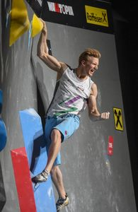 Jakob Schubert of Austria during the final of Men Combined competition, Boulder of the IFSC Climbing World Championships 2018. Innsbruck, Austria, 2018/09/16