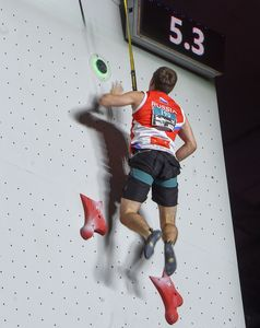 Aleksandr Shikov of Russian Federation during the Mens Speed Climbing qualification for the IFSC Climbing World Championships 2018. Innsbruck, Austria, 13 September 2018