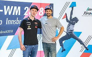 29.05.2018, Metropol, Innsbruck, AUT, IFCS Kletter WM, Pressekonferenz, im Bild Jakob Schubert ud Killian Fischhuber // during the Pressconference for the IFSC Climbing World Championships at the Metropol, Innsbruck, Austria on 2018/05/29. EXPA Pictures © 2018, PhotoCredit: EXPA/ JFK