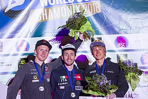 IFSC Climbing Worldcup Chamonix/FRA 2018\nLead Finals\n\nPic shows: Podium\n3rd Place Alexander Megos\n2nd Place Jakob Schubert\n1st Place Stefano Ghisolfi