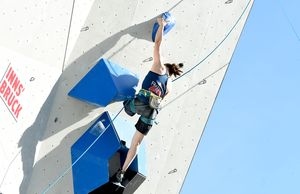 Lucie Jarrige of France during the Para Climbing qualification for the IFSC Climbing World Championships 2018. Innsbruck, Austria, 08 September 2018