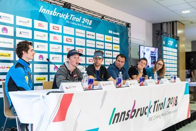 IFSC Climbing World Championships Innsbruck Tirol 2018 / Combined Press Conference / 16.09.2018 / image shows: Press Conference Adam Ondra JAkob Schubert Jan Hojer Michael Schoepf Heiko Wilhelm