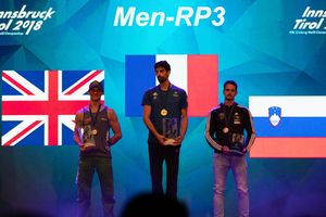 Paraclimbing World Championships Innsbruck 2018: Podium of Category RP3-M 1. Romain Pagnoux (FRA) 2. Michael Cleverdon (GBR) 3. Gregor Selak  (SLO)