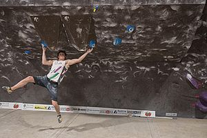 Graz (AUT), EUROPEAN YOUTH CUP BOULDER 2018 - image shows: Uznik Nicolai (AUT) in qualification