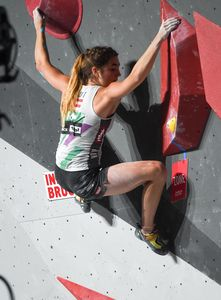 Johanna Faerber of Austria during the Boulder Womens halffinal for the IFSC Climbing World Championships 2018. Innsbruck, Austria, 14 September 2018