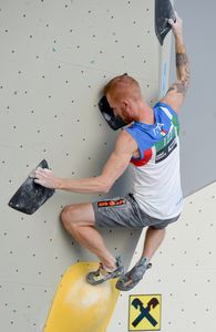 Gabriele Moroni of Italy during the Men Boulder qualification for the IFSC Climbing World Championships 2018. Innsbruck, Austria, 12 September 2018