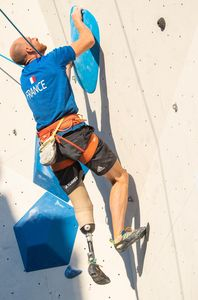 Thierry Delarue of France during the Para Climbing qualification for the IFSC Climbing World Championships 2018. Innsbruck, Austria, 12 September 2018