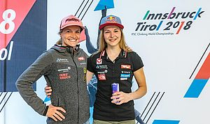29.05.2018, Metropol, Innsbruck, AUT, IFCS Kletter WM, Pressekonferenz, im Bild Anna Stöhr und Jessica Pilz // during the Pressconference for the IFSC Climbing World Championships at the Metropol, Innsbruck, Austria on 2018/05/29. EXPA Pictures © 2018, PhotoCredit: EXPA/ JFK