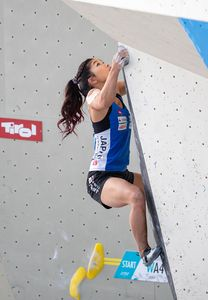 Miho Nonaka of Japan during the Women Boulder qualification for the IFSC Climbing World Championships 2018. Innsbruck, Austria, 08 September 2018