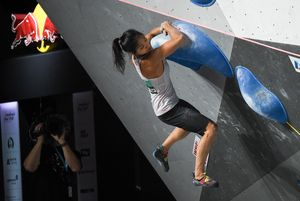 Alannah Yip of Canada during the Boulder Womens halffinal for the IFSC Climbing World Championships 2018. Innsbruck, Austria, 14 September 2018