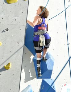 Joanna Newton of United Kingdom during the Para Climbing qualification for the IFSC Climbing World Championships 2018. Innsbruck, Austria, 08 September 2018