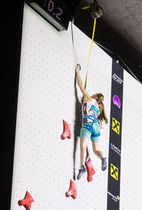 Sandra Lettner of Austria during the Ladies Speed qualification for the IFSC Climbing World Championships 2018. Innsbruck, Austria, 13 September 2018