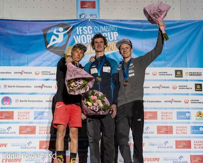 2019 World Trip; Chamonix 2019 Lead Mens Finals Podium Megos, Ondra, Schubert