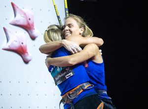 gold medalist and World Champion Aleksandra Rudzinska of Poland silver medalist Anna Brozek of Poland during the Ladies Speed Climbing Final of the IFSC Climbing World Championships 2018. Innsbruck, Austria, 13 September 2018