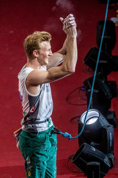gold medalist and World Champion Jakob Schubert of Austria during the final of Men Combined competition, Lead of the IFSC Climbing World Championships 2018. Innsbruck, Austria, 2018/09/16