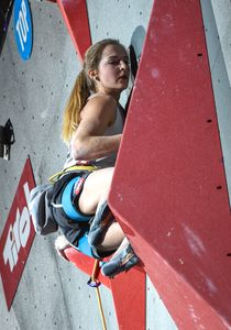 Jessica Pilz of Austria during the final of Women Combined competition, Lead of the IFSC Climbing World Championships 2018. Innsbruck, Austria, 2018/09/16
