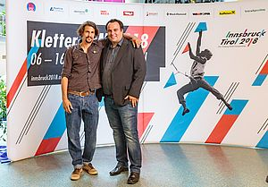29.05.2018, Metropol, Innsbruck, AUT, IFCS Kletter WM, Pressekonferenz, im Bild Markus Schwaiger, Michael Schöpf // during the Pressconference for the IFSC Climbing World Championships at the Metropol, Innsbruck, Austria on 2018/05/29. EXPA Pictures © 2018, PhotoCredit: EXPA/ JFK