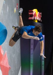 Manuel Cornu of France during the semifinal of Men Boulder competition of the IFSC Climbing World Championships 2018. Innsbruck, Austria, 2018/09/15